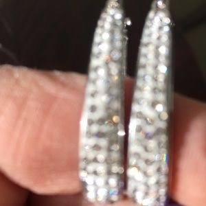 Silver color sparkling earrings